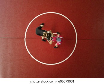 Female wrestlers hand fighting on their feet. View from above.