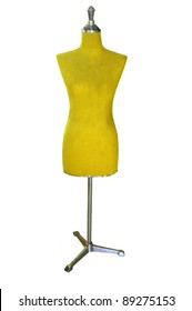 female yellow mannequin isolated on white