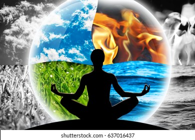 Female yoga figure in a transparent sphere, composed of four natural elements (water, fire, earth, air), as a concept for controlling emotions, power over nature, calm and optimism.