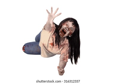 Female zombie crouching on the floor isolated over white background