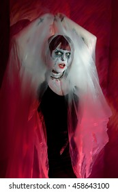 female zombie in a misty mystical garb on red background