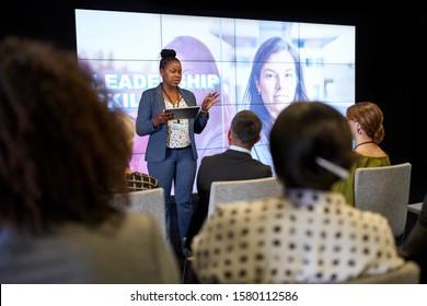 Female-driven presentation by pretty millennial African American