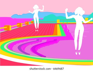 females dancing with topsy turvy swimming pool landscape