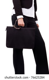 females hand with handcuff and a suitcase, isolated on white