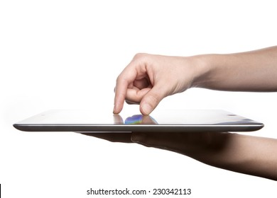 A female(woman, girl) hand support tablet pc device(iPad, tab) and finger touch(expanding) the screen isolated white at the studio.