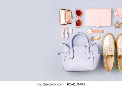 Feminine accessories collage with handbag, watch, note and beauty products.