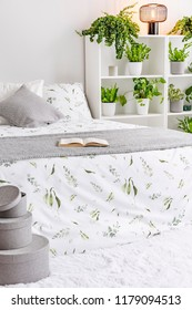 Feminine bedroom interior in white, gray and green with plants next to a bed dressed in pillows, bedspread and blanket made of natural fabric. Real photo.