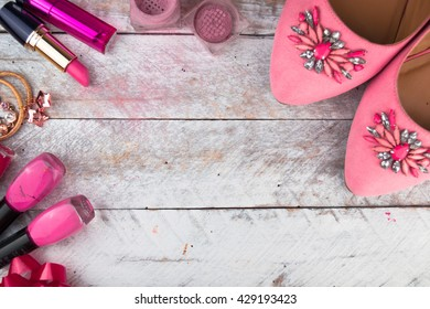 Feminine cosmetic background. Overhead of essentials fashion women objects. Top view