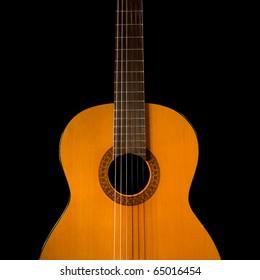 feminine curves of Classical guitar, isolated on black