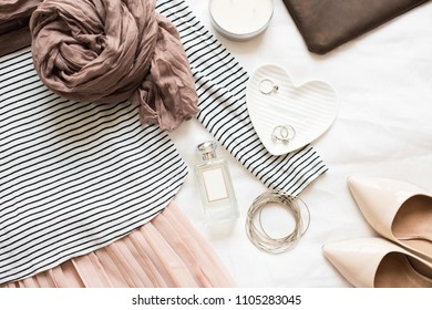 Feminine flat lay, fashion bloggers beauty objects
