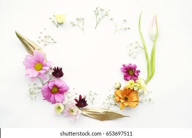 Feminine flowers wreath ,flat design, on white background, invitation,card concept