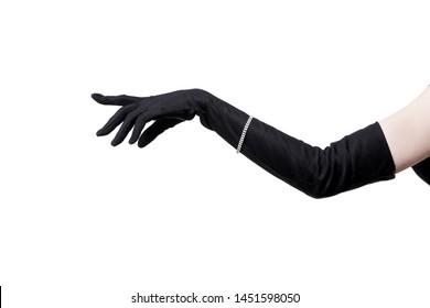 Feminine hand in a black glove on a white background.
