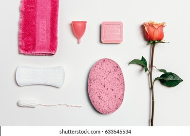 Feminine intimate hygiene set over white background