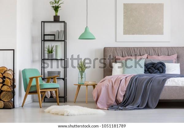 Feminine Modern Bedroom Interior Pastel Pink Stock Photo (Edit Now ...