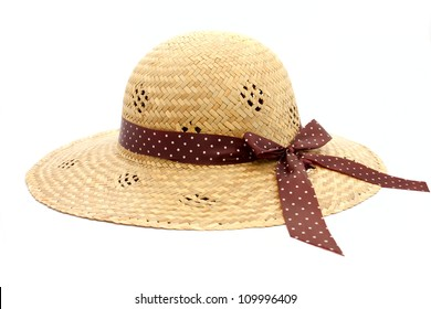 Feminine women's straw hat with the ribbon