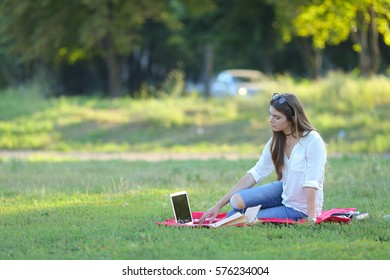 feminine working outdoors with papers in glasses. in the park for a laptop fast food snack.