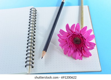 Feminine workspace desk with blank notebook and black pencil on blue background with pink flower. Concept about love and relationship. Creative space for lovely woman. Initiative idea for design work