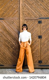 Femininity and emphasize feminine figure. Girl wear loose high waisted pants. Fashion shop. High waisted pants fashion trend. High waisted trousers. Woman attractive brunette wear fashionable clothes.