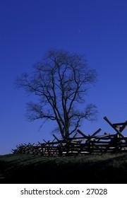 Fence along Bloody Lane on Civil War battlefield at Antietam, near Sharpsburg, Maryland