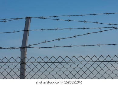 Мetal fence with barbed wire. Clear blue sky as background. Protection, security concept.