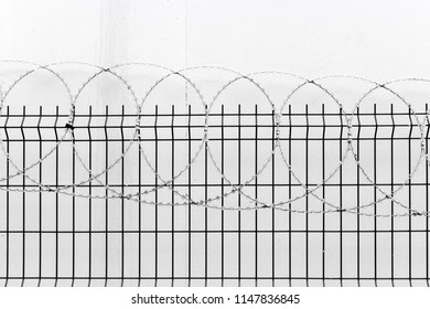 fence with barbed wire on white wall background.