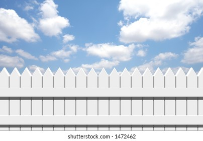 fence in clouds