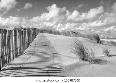 fence and dunes in black and white