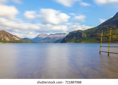 Fence into Ennerdale Water, Cumbria, the Lake District, England in the United Kingdom