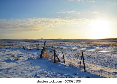Fence, Landscape, Iceland scenery, snowy mountains