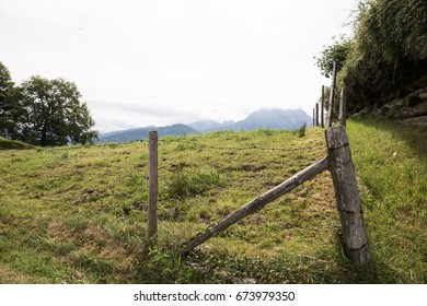 Fence for livestock like goats and cows outside the town of Gmunden, Austria.