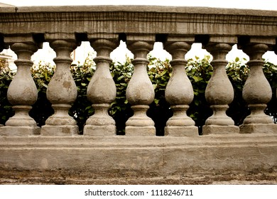 Fence made of stone balusters