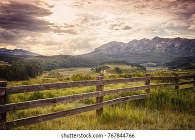 Fence near Ohio Creek Pass in High Mountains of Colorado, USA