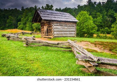 Fence and old log cabin at Cade's Cove, Great Smoky Mountains National Park, Tennessee.