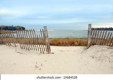 Fence on a beach in Door County, Wisconsin. Lake Michigan