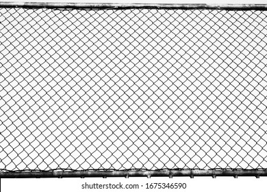 Fence on a blue sky with cloud, Mesh fence with partly cloudy sky, Chain link fence and a blue sky, fence and Blue sky background beyond.