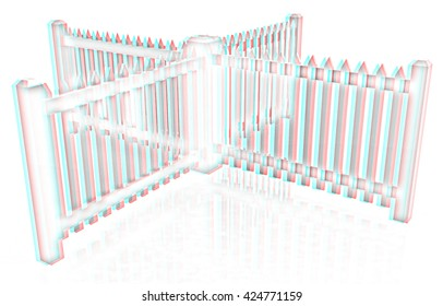 fence on a white background. Pencil drawing. 3D illustration. Anaglyph. View with red/cyan glasses to see in 3D.