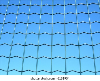 Fence over a blue background with green meshes
