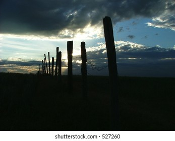 fence posts and barbed wire against an african evening sky