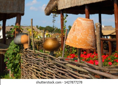 Fence with pottery in Russian rural yard, Krasnodar region, Russia, July 15, 2012. Exhibition Complex Ataman. Kuban Cossack culture and history