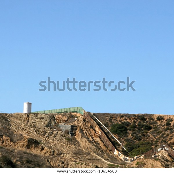 A fence seperates the Tijuana, Mexico area from southern California.