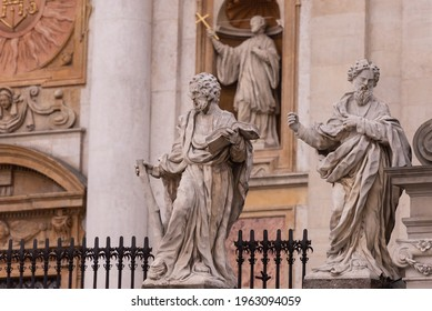 Fence with statues of the apostles. Made in 1772 by David Geel from Pinchow limestone. Heavily damaged due to acid rain.