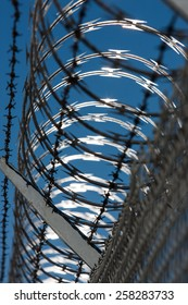 A fence topped with concertina razor wire