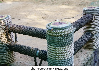 Fence wrapped with rope