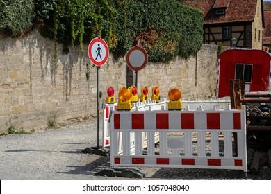Fenced construction site /Roadblock / Special fences block off traffic during road repairs