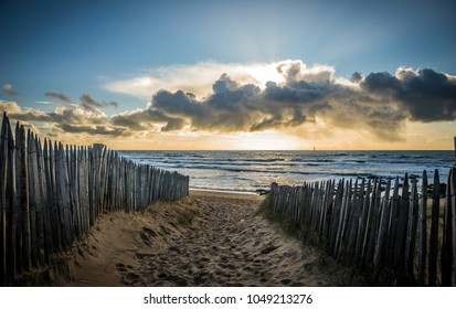 Fenced path to the beach of la Paracou in Les Sables d'Olonne, France