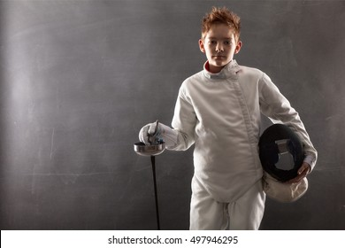 Fencer with fencing mask.