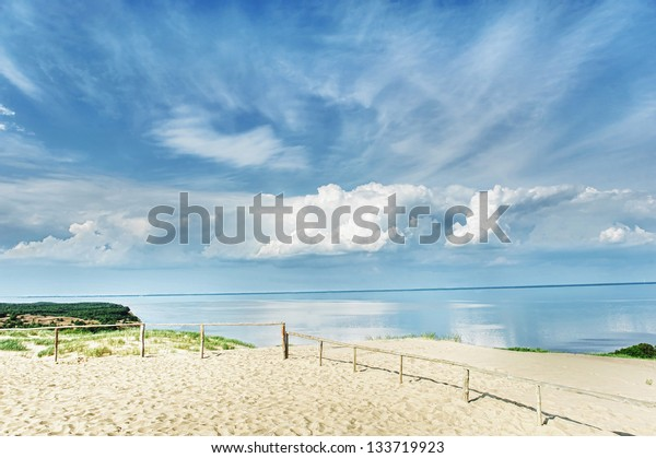 Fences in dunes by sea. summer's day