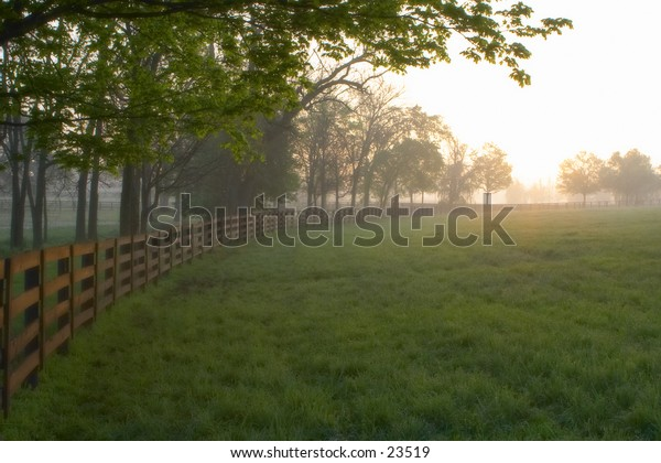 Fences on a Kentucky horsefarm at sunrise.