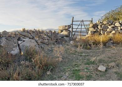 Fences in Torozo hill. San juan de la Nava. Avila. Spain