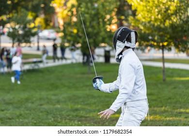 A fencing athlete